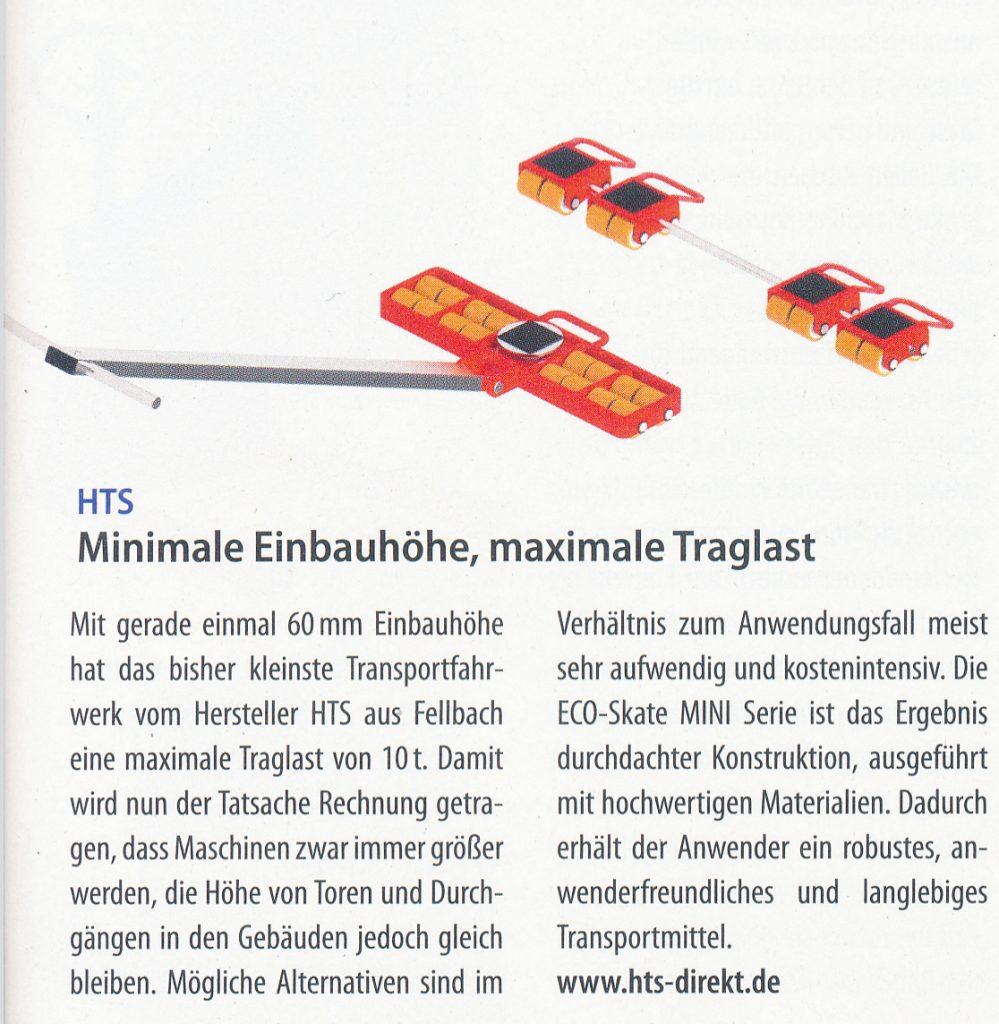Minimale Einbauhöhe, maximale Traglast - Produktion - Beste Produkte 01/2018