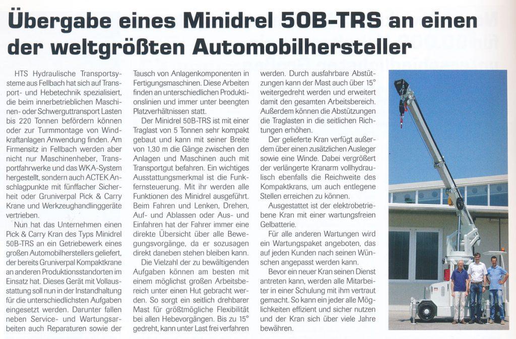 Frachtdienst 06/2013 - HTS - Übergabe eines Minidrel 50B-TRS an einen der weltgrößten Automobilhersteller