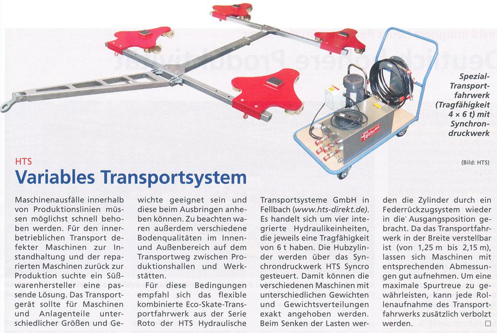 Hebezeuge Fördermittel 09/2013 - Variables Transportsystem