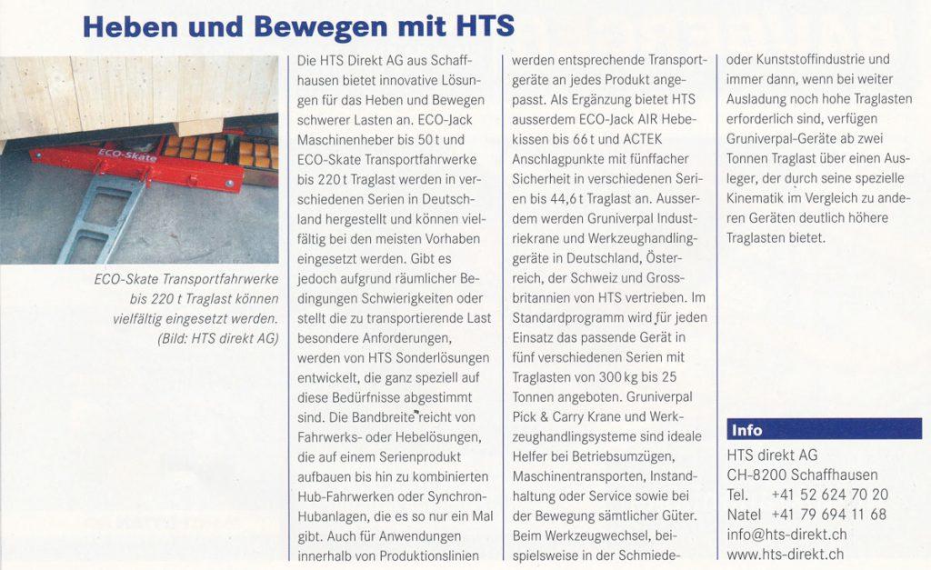 MH Material-Handling 09/2012 - Heben und Bewegen mit HTS