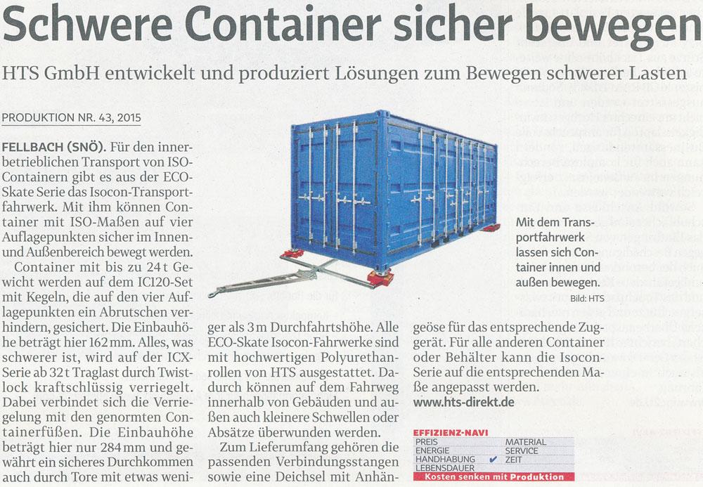 Produktion 43/2015 - HTS - Schwere Container sicher bewegen