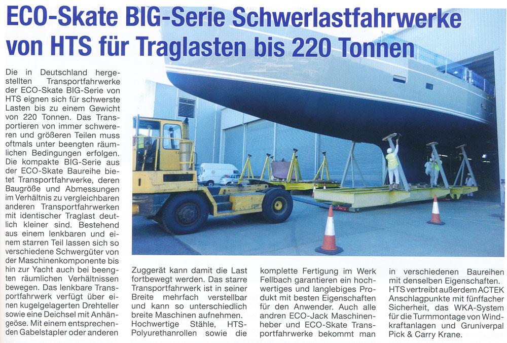 ROAD Journal 02/2014 - ECO-Skate BIG-Serie Schwerlastfahrwerke von HTS für Traglasten bis 220 Tonnen
